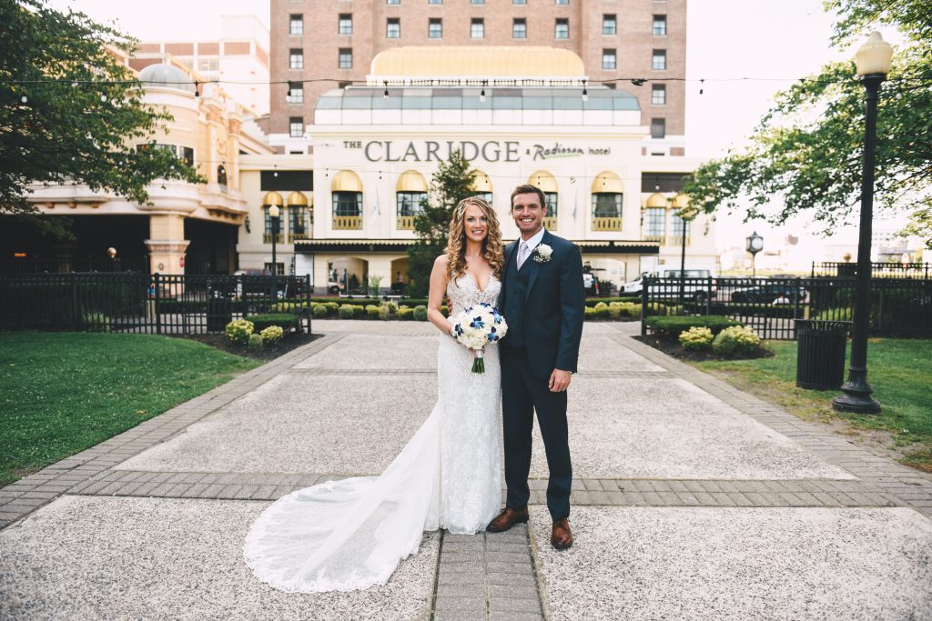 A couple in front of our rooftop wedding venue near Brigantine, NJ
